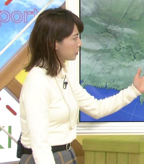 尾崎朋美 美人気象予報士のぴったりニット横乳キャプ画像(エロ・アイコラ画像)