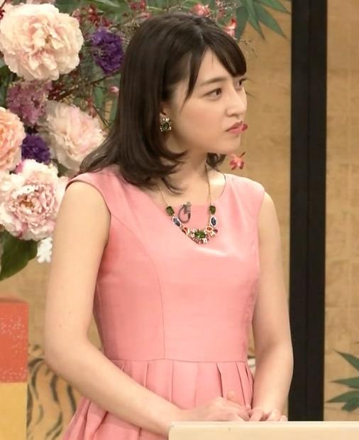 赤木野々花アナ ピンクのノースリーブワンピースキャプ・エロ画像4