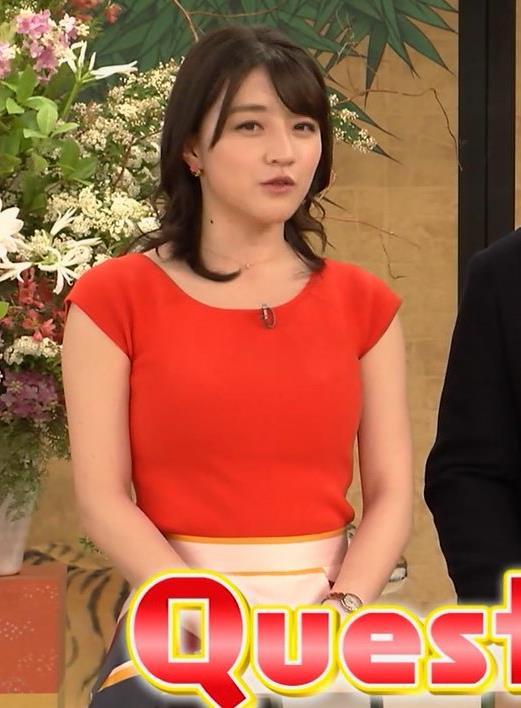 赤木野々花アナ 赤いピチピチの服キャプ・エロ画像4