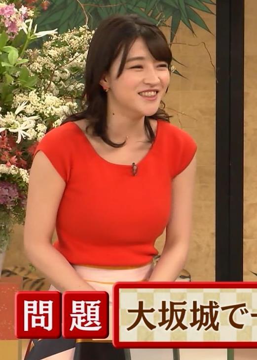 赤木野々花アナ 赤いピチピチの服キャプ・エロ画像5