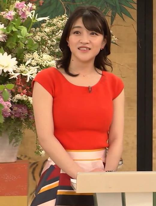 赤木野々花アナ 赤いピチピチの服キャプ・エロ画像6