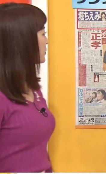 新井恵理那アナ 上向きニット横乳!キャプ・エロ画像8