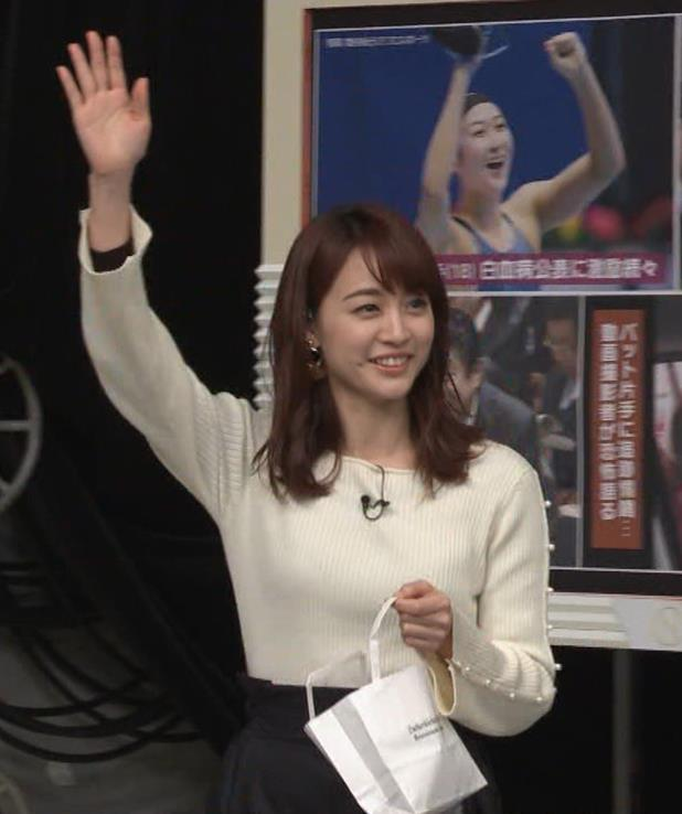 新井恵理那アナ ニットおっぱいキャプ・エロ画像2