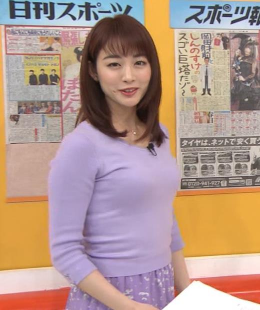 新井恵理那アナ 突き出た横乳キャプ・エロ画像