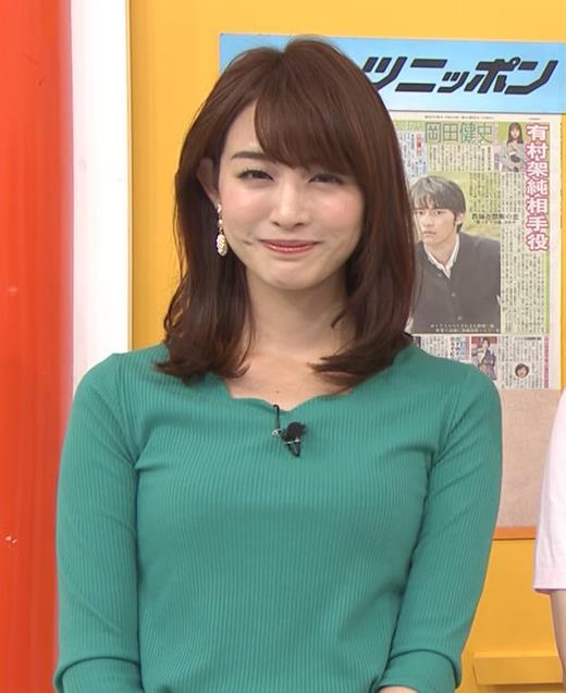 新井恵理那 緑ニットの乳キャプ・エロ画像7