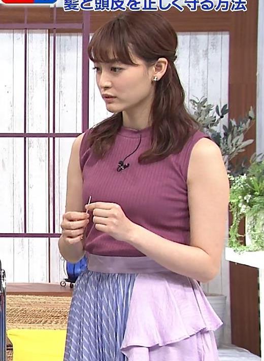 新井恵理那 エッチなノースリーブキャプ画像(エロ・アイコラ画像)