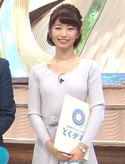海老原優香アナ 胸のラインがでたニットキャプ・エロ画像