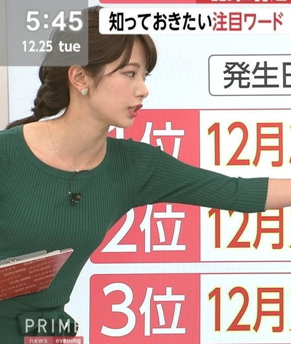 海老原優香アナ 身体のラインが出たぴったりニットキャプ・エロ画像3