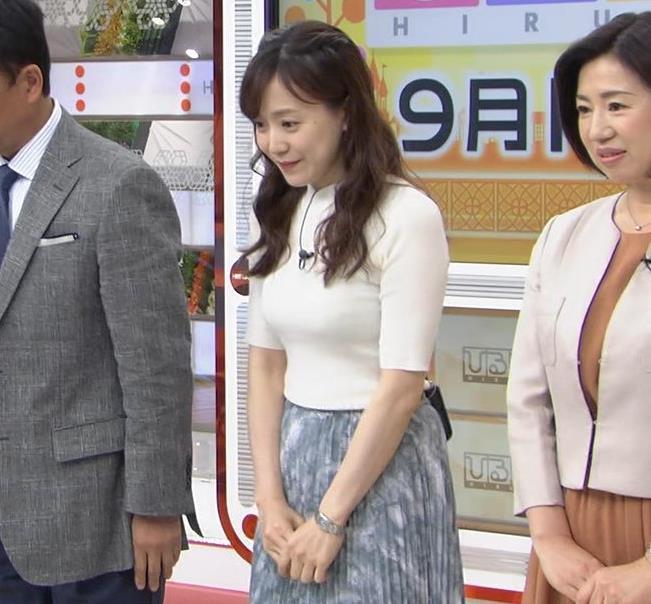 江藤愛アナ 胸がピチピチのニットキャプ・エロ画像