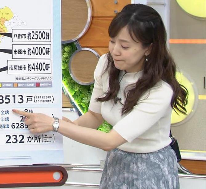 江藤愛アナ 胸がピチピチのニットキャプ・エロ画像3