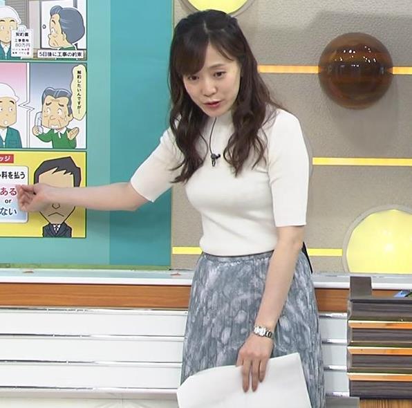 江藤愛アナ 胸がピチピチのニットキャプ・エロ画像6