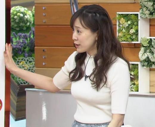 江藤愛アナ 胸がピチピチのニットキャプ画像(エロ・アイコラ画像)
