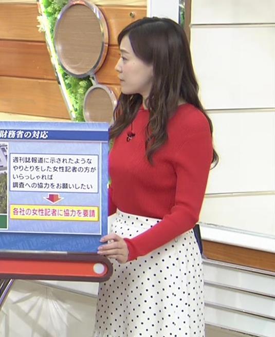 江藤愛アナ 赤いニットのおっぱい★キャプ・エロ画像8