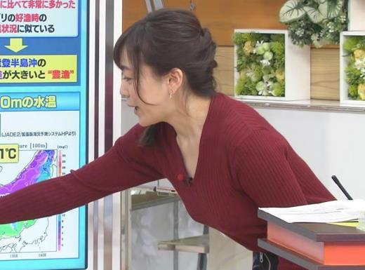江藤愛 Vネックで前かがみキャプ画像(エロ・アイコラ画像)