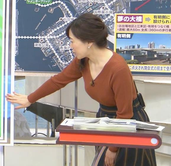 江藤愛アナ セクシーなVネックのニットキャプ・エロ画像4