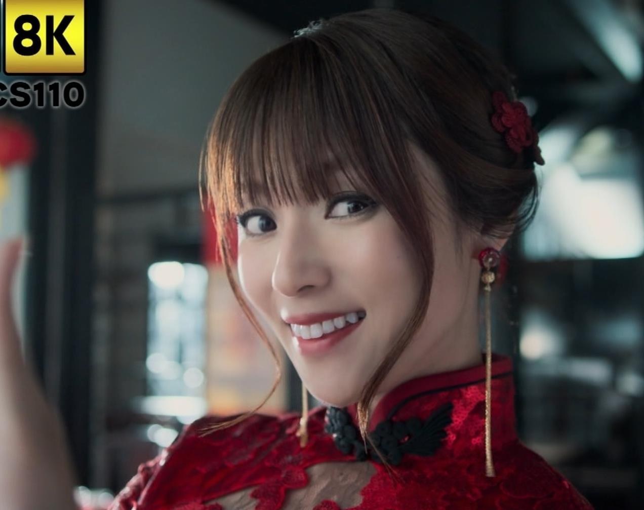 深田恭子 エロ過ぎるチャイナドレス姿のBS4K8KのCMキャプ・エロ画像8