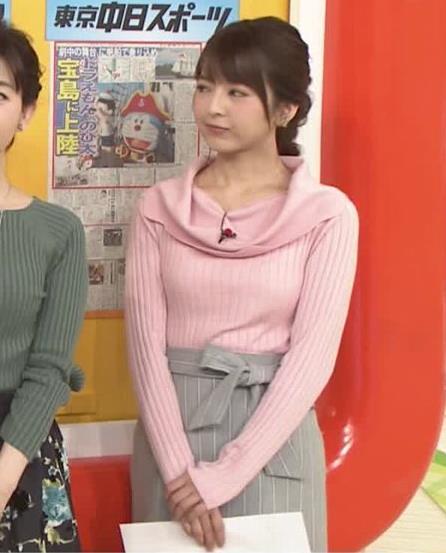 福田成美 ニットおっぱい♡「グッドモーニング」キャプ・エロ画像