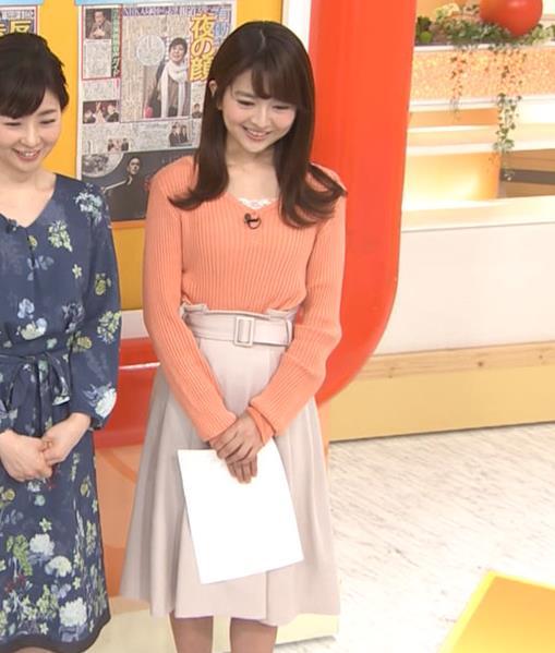 福田成美アナ 胸元がなんかエロいニットキャプ・エロ画像5