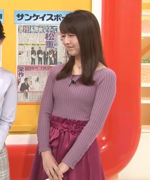 福田成美アナ 朝からエロかわいいニットおっぱいキャプ・エロ画像2