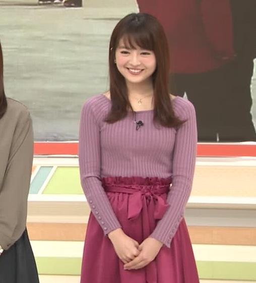 福田成美アナ 朝からエロかわいいニットおっぱいキャプ・エロ画像3