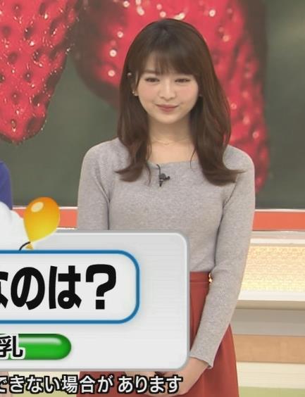 福田成美アナ 朝からエロかわいいニットおっぱいキャプ・エロ画像9