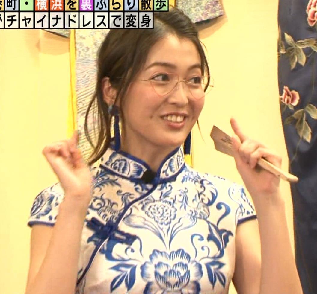 福田典子アナ 激エロ!チャイナドレス!脚&おっぱい!!キャプ・エロ画像2
