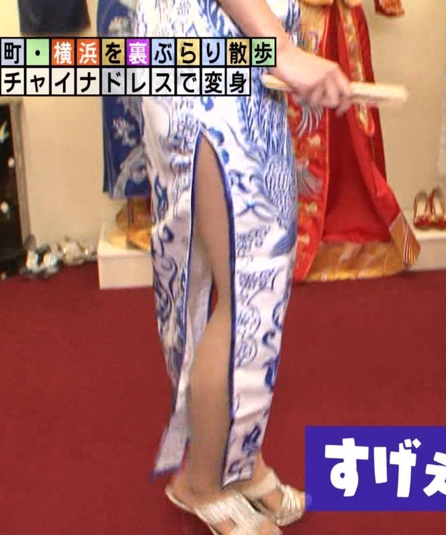 福田典子アナ 激エロ!チャイナドレス!脚&おっぱい!!キャプ・エロ画像13