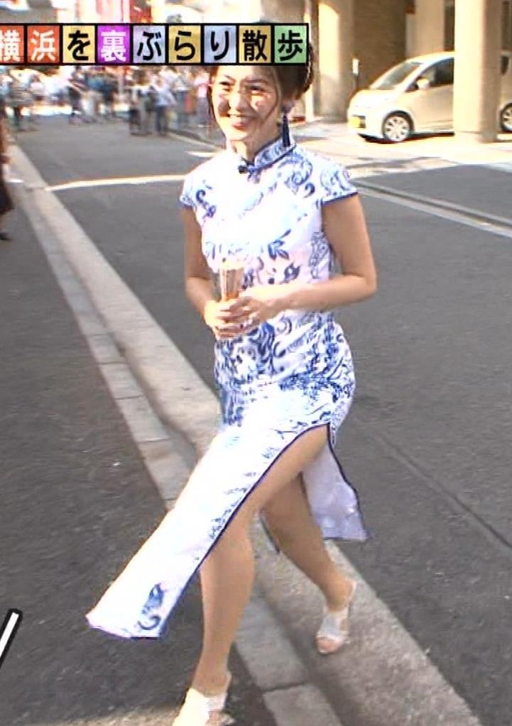 福田典子アナ 激エロ!チャイナドレス!脚&おっぱい!!キャプ・エロ画像23