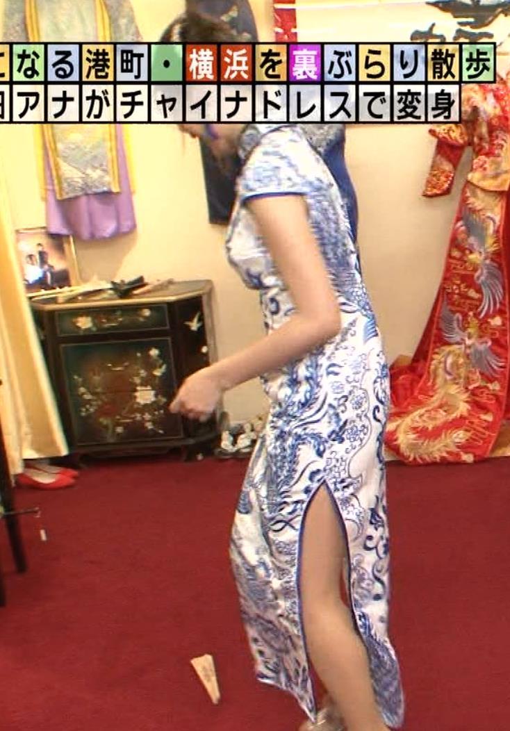 福田典子アナ 激エロ!チャイナドレス!脚&おっぱい!!キャプ・エロ画像7