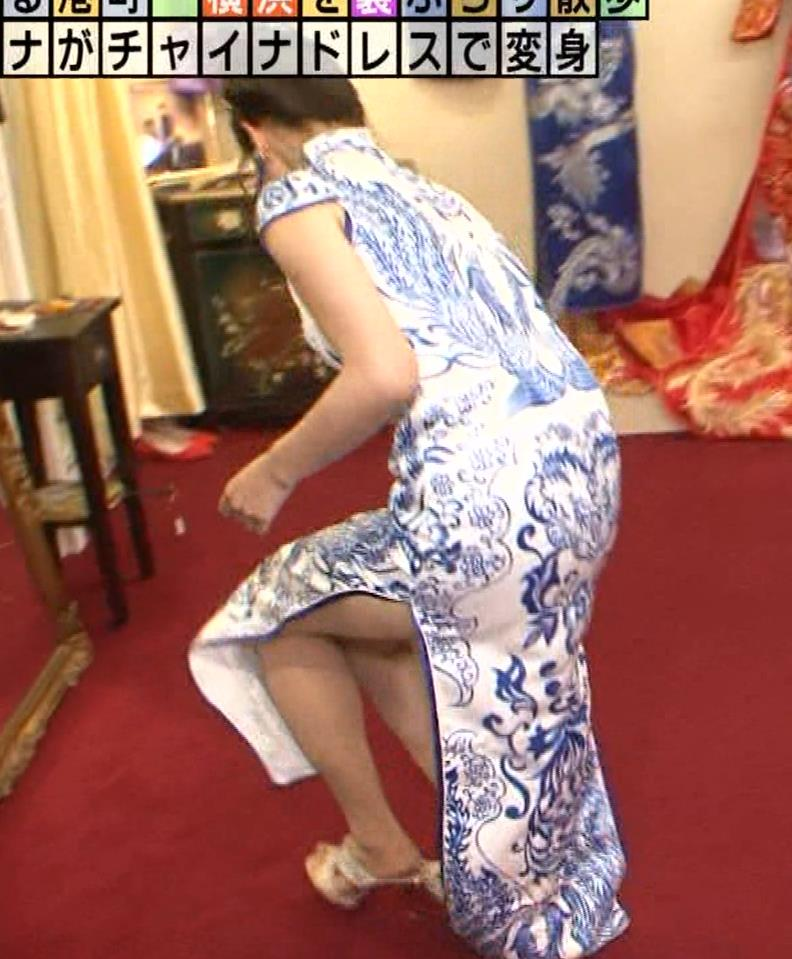福田典子アナ 激エロ!チャイナドレス!脚&おっぱい!!キャプ・エロ画像8