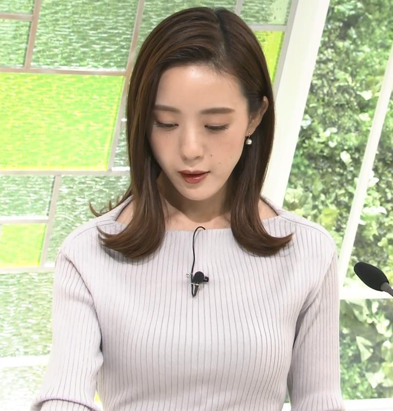 古谷有美アナ ばっちりメイク&ニット乳キャプ・エロ画像2