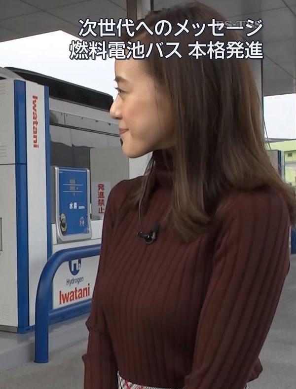 古谷有美アナ ニットの乳がでかいキャプ・エロ画像5