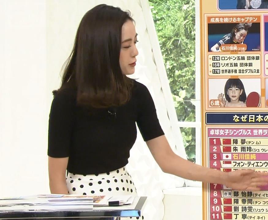 古谷有美アナ 真っ黒ニットで分かりにくいけど巨乳が際立つキャプ・エロ画像6