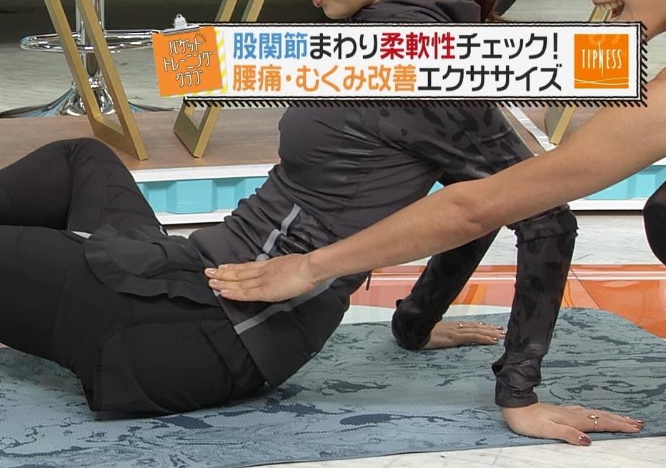 後藤晴菜アナ もはやエロ目的で見てる人の方が多そうなエクササイズコーナーキャプ・エロ画像7