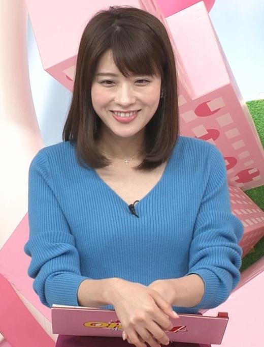 郡司恭子アナ 胸元が開いたニットキャプ・エロ画像4
