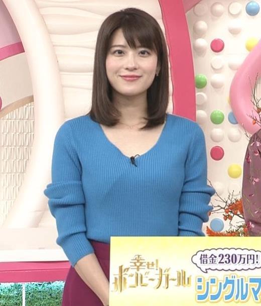 郡司恭子 胸元が開いたニットキャプ画像(エロ・アイコラ画像)