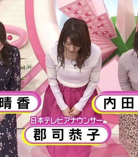 郡司恭子アナ ニット乳を斜めからキャプ・エロ画像7