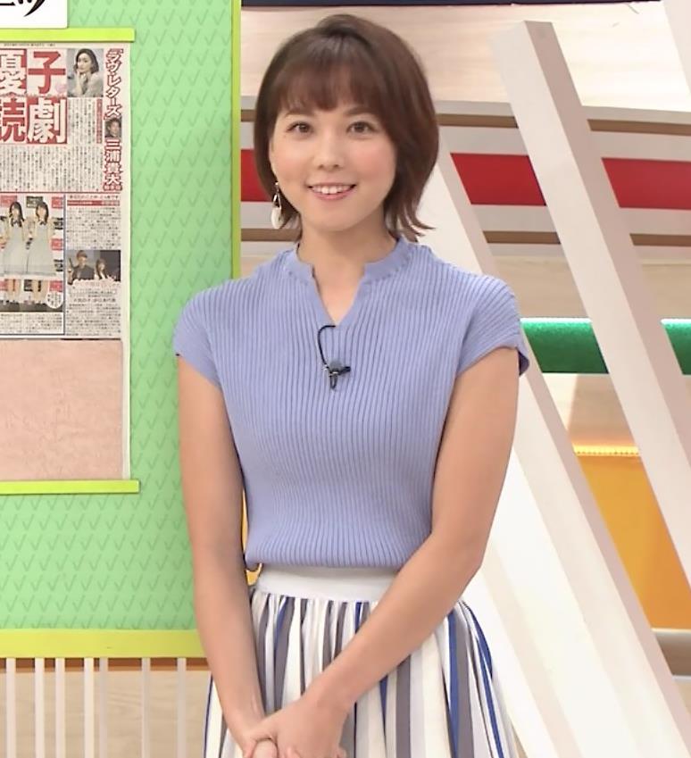 ヒロド歩美アナ 微妙なニット横乳キャプ・エロ画像9