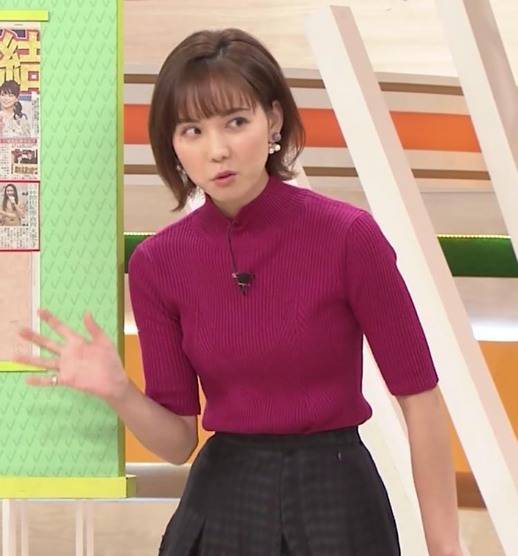 ヒロド歩美アナ ニット横乳キャプ・エロ画像7