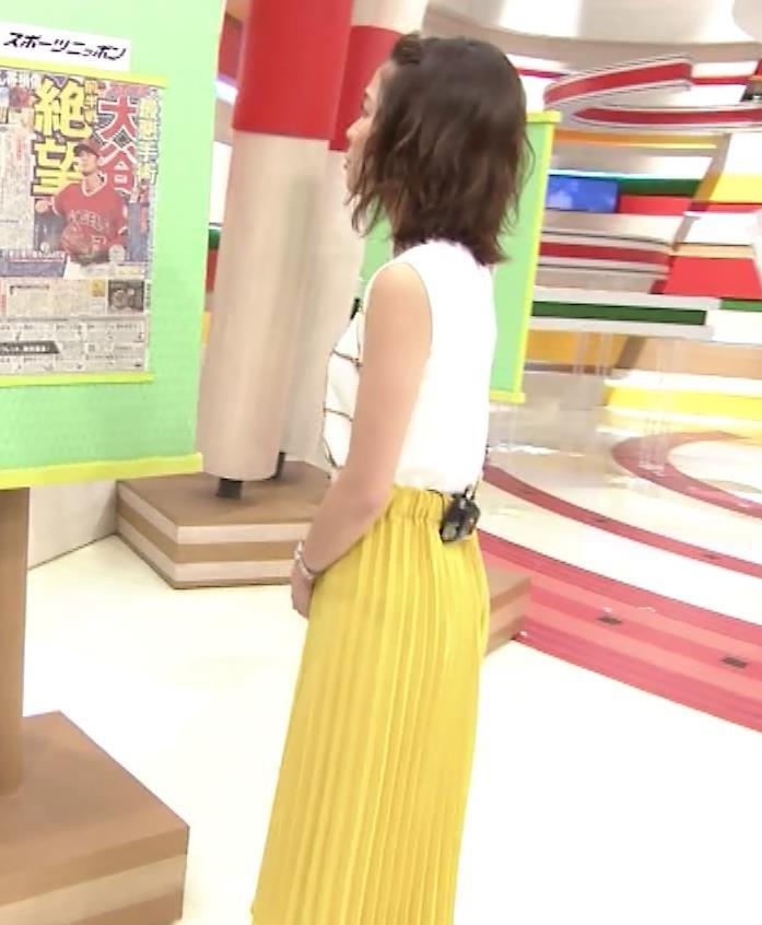 ヒロド歩美アナ ノースリーブ横乳キャプ・エロ画像2