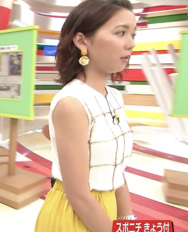 ヒロド歩美アナ ノースリーブ横乳キャプ・エロ画像3