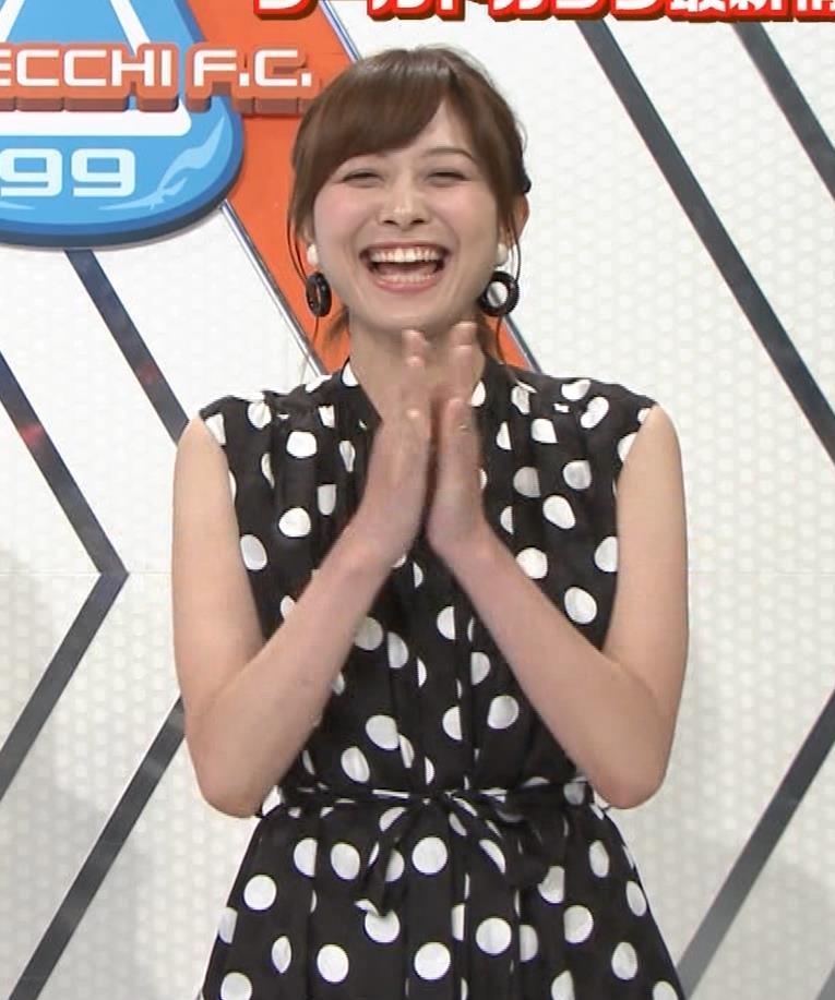 久冨慶子アナ 水玉のノースリーブワンピースキャプ・エロ画像5