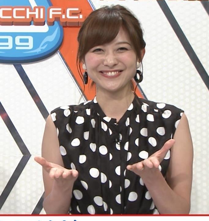 久冨慶子アナ 水玉のノースリーブワンピースキャプ・エロ画像6
