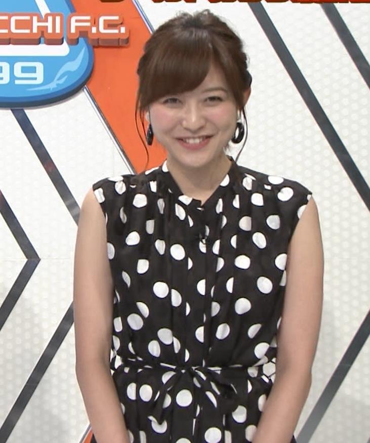 久冨慶子アナ 水玉のノースリーブワンピースキャプ・エロ画像7