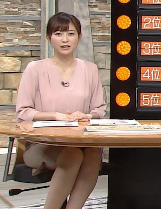 久冨慶子 机の下の脚がエロいミニスカキャプ画像(エロ・アイコラ画像)