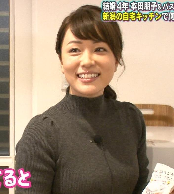 本田朋子アナ 人妻ニット横乳キャプ・エロ画像6