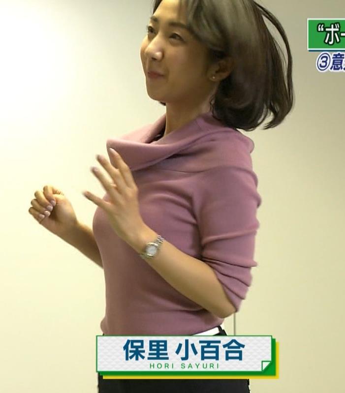 保里小百合アナ NHKの巨乳アナのニットおっぱいキャプ・エロ画像4