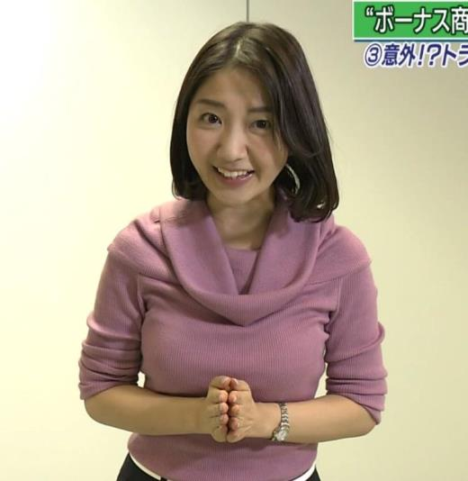 保里小百合 NHKの巨乳アナのニットおっぱいキャプ画像(エロ・アイコラ画像)