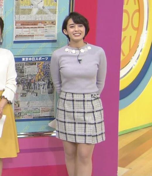 堀口ミイナ 朝のニュースにはスカート短過ぎ。乳デカいし、カラダのラインがエロい。キャプ画像(エロ・アイコラ画像)