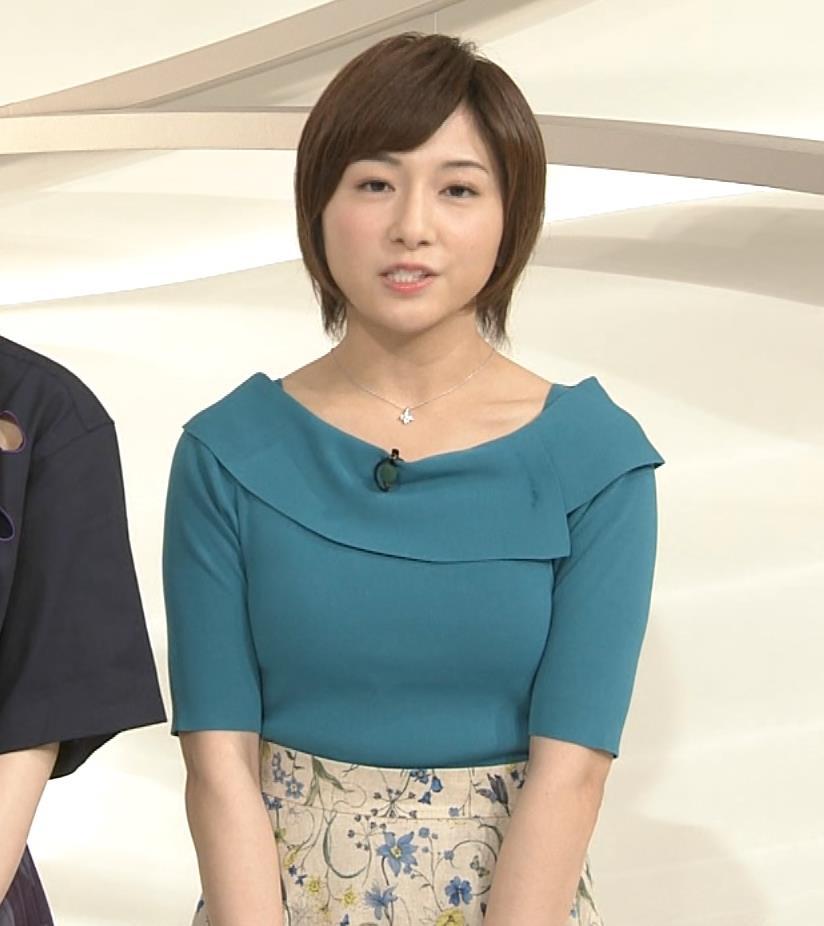 市來玲奈アナ おっぱいアピールの衣装キャプ・エロ画像2